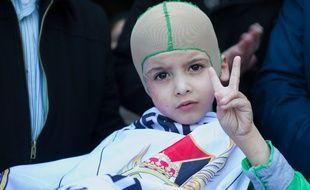 Ahmed Dawabcheh, le garçon palestinien rescapé d'une attaque d'extrémistes israéliens le 16 mars 2016.