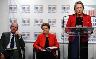 Guy Geoffroy, Maud Olivier et Catherine Coutelle le 26 novembre 2013 à Paris