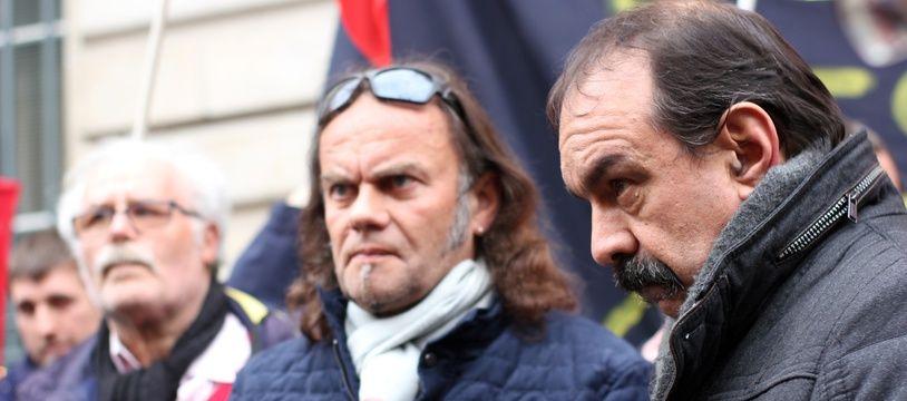Le secrétaire de la CGT Philippe Martinez, ici lors de son déplacement à Rennes le 23 mars 2018 en soutien aux facteurs en grève..
