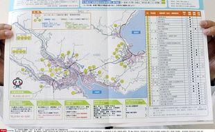 Une carte d'évacuation en cas de tsunami pour la ville d'Otsuchi, dans la préfecture d'Iwate, dévastée en 2011.