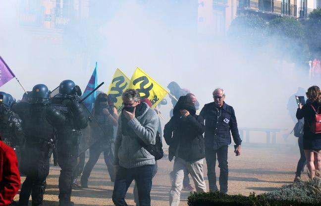 Des gaz lacrymogènes ont été lancés par des forces de l'ordre ce mardi 9 octobre lors de la manifestation à Rennes.