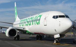 Un appareil de la compagnie Transavia à l'aéroport de Nantes.