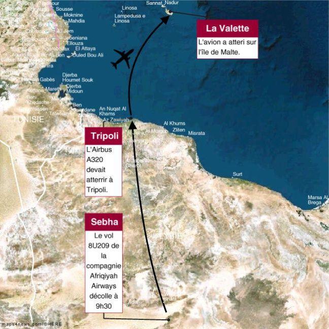 Carte du vol Afriqiyah Airways détourné le 23 décembre 2016 à Malte.