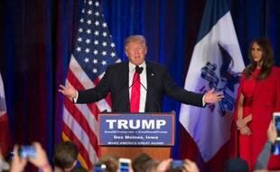 Donald Trump après sa défaite aux primaires républicaines de l'Iowa, le 1er février 2016 à Des Moines
