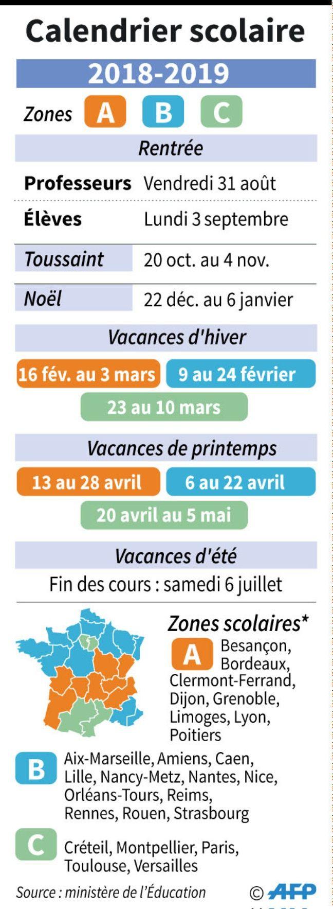 Calendrier Vacances Scolaires 2019 Nantes.Calendrier Scolaire Rentrees Vacances Ponts Les Dates