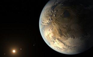 Vue d'artiste de l'exoplanète Kepler-186f, déclarée habitable par la Nasa le 17 avril 2014
