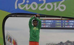 Feyisa Lelisa a terminé deuxième du marathon de Rio.