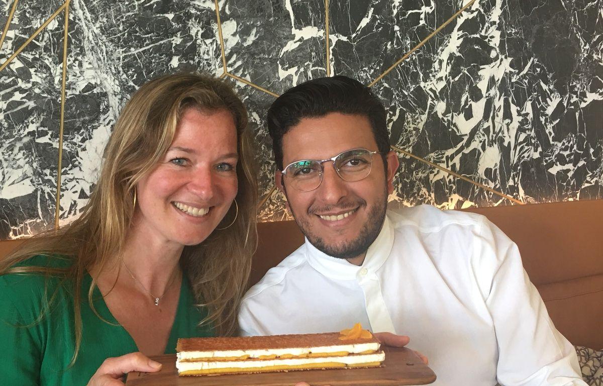Le chef Akrame Benallal et notre lectrice, Karina M. – S.LEBLANC/20MINUTES