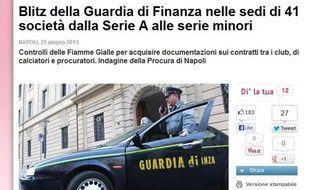 Capture d'écran de la Gazzetta Dello Sport, le 25 juin 2013