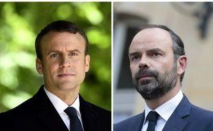 Collage AFP du président Emmanuel Macron et du Premier ministre Edouard Philippe