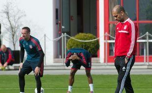Franck Ribéry et Pep Guardiola à l'entraînement du Bayern, le 31 mars 2014.