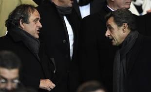 Michel Platini et Nicolas Sarkozy au Parc des Princes en février 2015