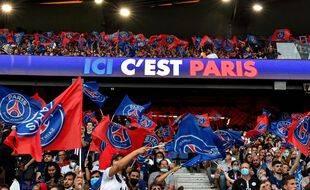 Les tribunes du Parc des Princes lors de PSG-Strasbourg, le 14 août 2021.