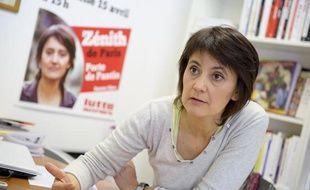 Nathalie Arthaud, le 11 avril 2012, au siège de Lutte ouvrière.