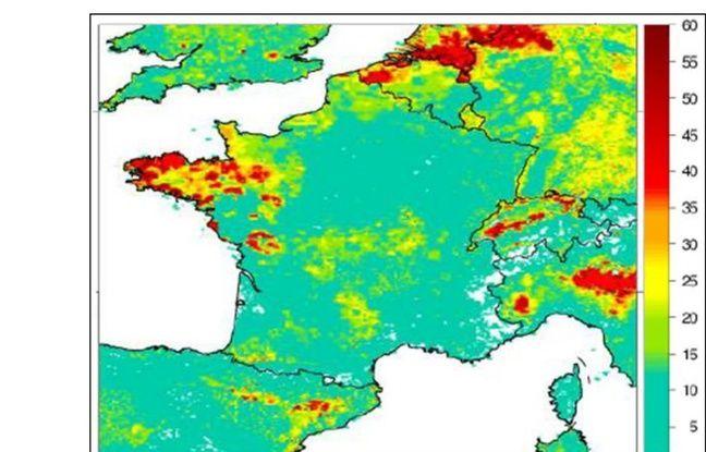 Les émissions d'ammoniac dans l'air par région selon une étude de l'Ineris.
