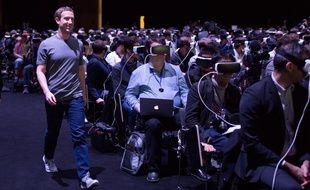 Le patron de Facebook, Mark Zuckerberg, lors du MWC 2016 de Barcelone, le 21 février 2016.