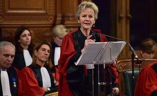 Paris, le 23 janvier 2017. Eliane Houlette lors de l'audience solennelle de rentrée du tribunal de Paris.