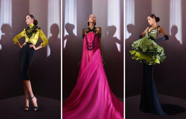 Trois silhouettes de la collection haute couture automne-hiver 2014-2015 de Julien Fournié.
