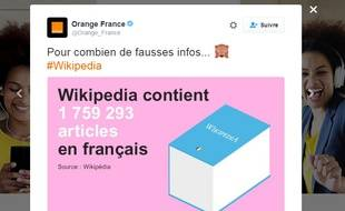 Tweet d'Orange critiquant Wikipedia.