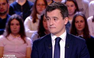 Gérald Darmanin minsitre des Comptes public à L'Emission politique le 15 mars 2018.