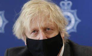 Boris Johnson, le 17 février 2021 à Bridgend.