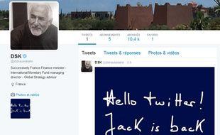 Capture d'écran du compte Twitter certifié de Dominique Strauss-Kahn, le 21 juin 2015 à 21h.