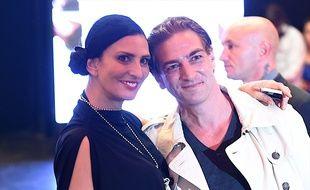 Ludovic Chancel (le fils de Sheila) et sa femme Sylvie Ortega Munos lors de la soiree d'inauguration du Salon du Chocolat 2015, coiffure Franck Provost, maquillage Make Up For Ever, Paris 2015.
