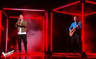 Terence James et Ed Sheeran en duo lors de la finale de The Voice All Stars.