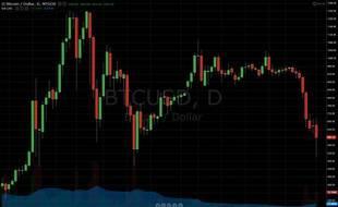 Le cours bitcoin-dollar sur la plateforme d'échange Mt Gox, de décembre 2013 à février 2014.