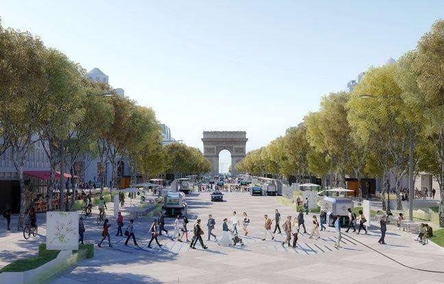 Les Champs-Elysées avec 4 voies de circulation contre 8 actuellement.
