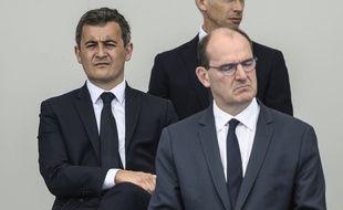 Gérald Darmanin derrière Jean Castex, le 14 juillet 2020 à Paris.