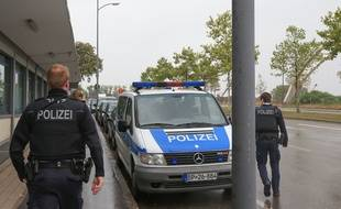 Strasbourg le 16 septembre 2015. La police Allemande a rétabli les contrôles à la frontière  franco-allemande à Kehl.