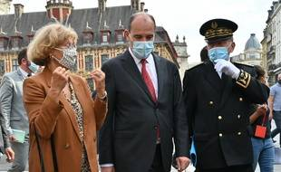 Jean Castex en visite à Lille, le 3 août 2020, pour la mise en place du port du masque obligatoire des les espaces publics.