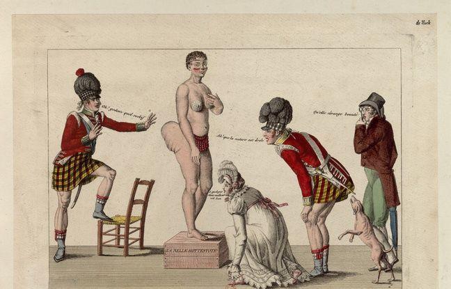Cette estampe baptisée Les Curieux en extase ou les Cordons de souliers dévoile la Vénus Hottentote qui attire le public avec son postérieur impressionnant.