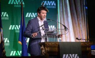 Le PDG et cofondateur d'Uber, Travis Kalanick, lors d'un discours à New York le 13 novembre 2014