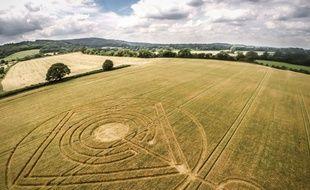 Un « crop circle » découvert en Grande-Bretagne en 2014 (Illustration)
