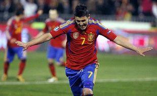 L'attaquant de l'équipe d'Espagne, David Villa, après un but contre la République tchèque en match de qualification pour l'Euro 2012, le 25 mars 2011, à Grenade.