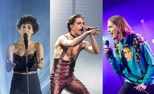 Barbara Pravi, Damiano David du groupe Maneskin et Dady Freyr, représentent respectivement la France, l'Italie et l'Islande à l'Eurovision 2021.