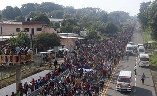 Une «caravane» de 7.000 migrants venus du Honduras se trouvait à Ciudad Hidalgo, dans le sud du Mexique, le 21 octobre 2018.