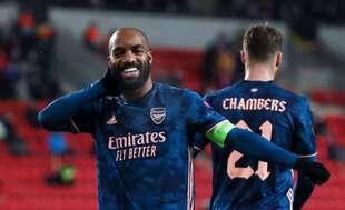 Alexandre Lacazette, double buteur et capitaine d'Arsenal jeudi soir sur la pelouse du Slavia Prague.