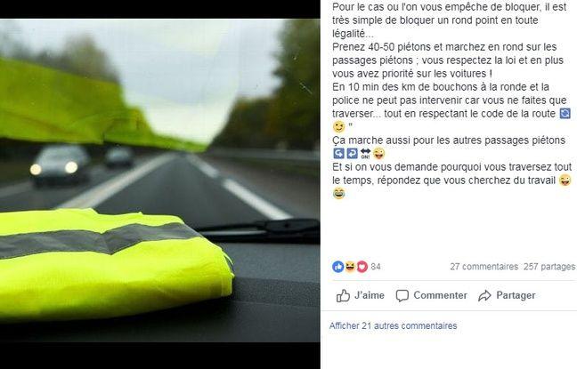 L'un des posts Facebook suggérant une technique pour bloquer les ronds-points.