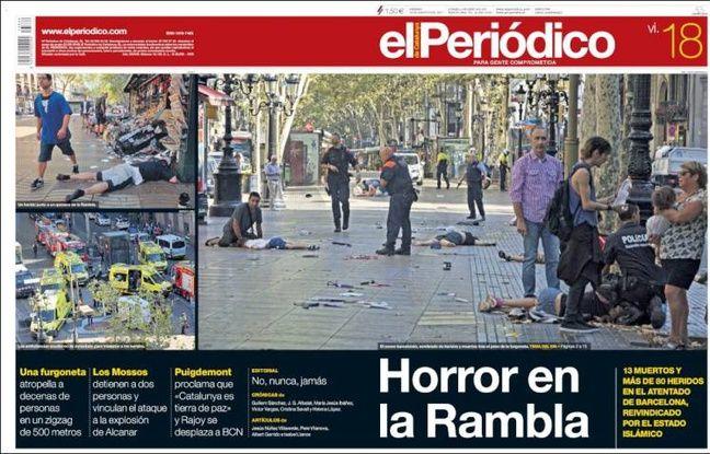 La une du journal «El Periodico» le 18 août 2017.