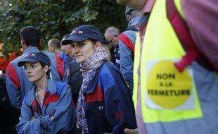 Des salariés du site Alstom de Belfort lors d'une manifestation organisée le 27 septembre.