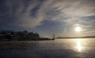 Lever de soleil sur le fjord d'Oslo.