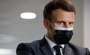 Lors d'une visite d'Emmanuel Macron dans un centre de la Sécurité sociale à Créteil.