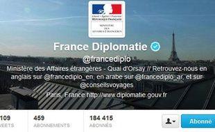 Profil Twitter du Quai d'Orsay, capture d'écran réalisée le 22 octobre 2012.