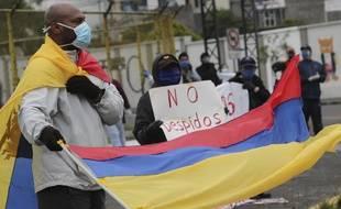 Un défilé à Quito pour la fête du travail, le 1er mai 2020.