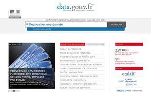 Capture d'écran du site «data.gouv.fr» qui recense les données publiques de l'Etat français.