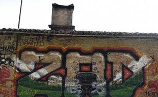 Des graffitis sur les murs d'une ferme désaffectée sur le site de Sivens, le 7 mars 2015