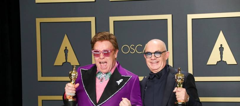 Les artistes Elton John et Bernie Taupin après leur victoire aux Oscars 2020